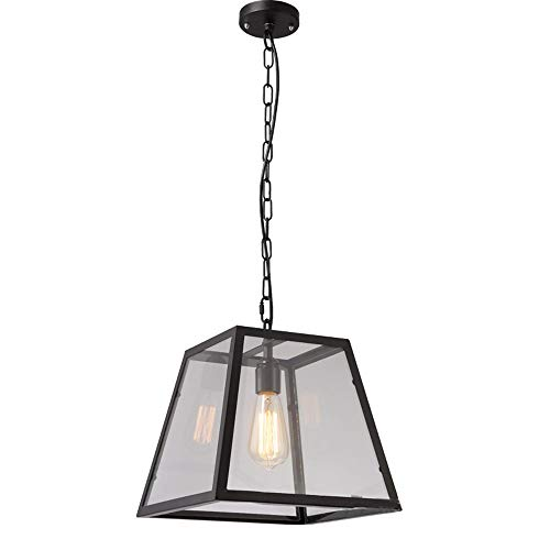Lighfd Iron Lamp Shade Light Pendant Entree Badkamer Restaurant Warehouse Bedroom ontwerpmontage Standard E27 Showroom Thuis Ret Modern antieke Retro glazen kubus plein