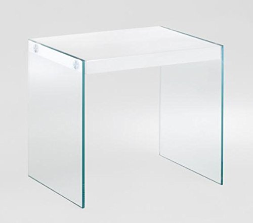 Mesa auxiliar Seguridad Cristal Transparente, estante blanco brillante Premium barniz, Haku 87395