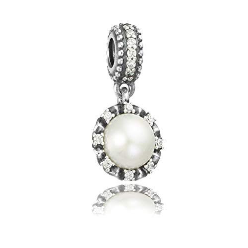 Everlasting Grace Pearl & Clear CZ Authentic 925 Sterling Silver Bead Charm Fits Pandora Charm Bracelet DIY Crafting