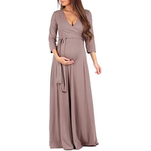 Mother Bee Maternity Faux Wrap Maternity Dress with Adjustable Belt for Baby Shower Or Casual Wear (Mocha, Medium)