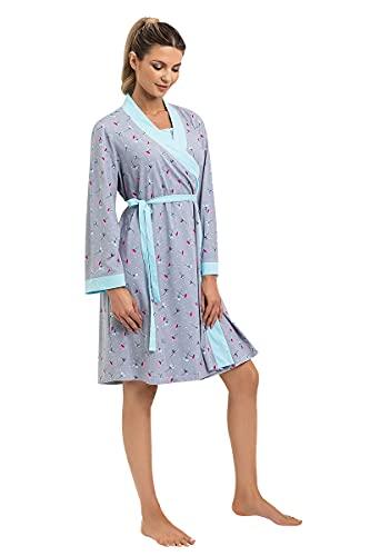 Mon Amie, robe de chambre de maternité, robe d'allaitement, avec ceinture, parfaite pour la grossesse et l'allaitement, manches 7/8, 100% coton. FLORA