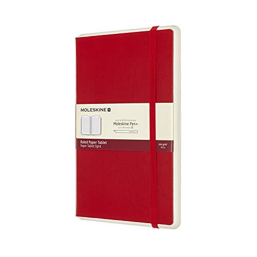 Moleskine, Smart Tablet de Papel, Cuaderno Digital con Páginas y Tapa Dura, Notebook Adecuado para Moleskine Pen+, Tamaño Grande 13 x 21 cm, Color Rojo, 176 Páginas
