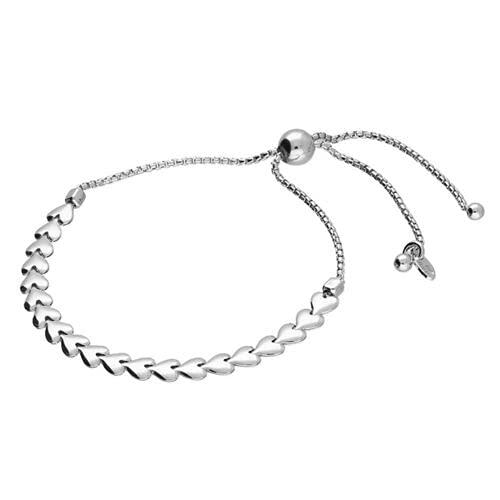 Pulsera deslizante ajustable de plata de ley 925 con eslabones de corazón