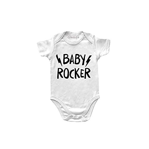 Body de bebé de manga corta Rock – Baby Rocker – Body Rock – Body para bebé unisex 100% algodón transpirable – Body regalo para nacimiento de bebé, Color blanco., 0- 6 meses