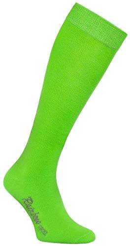 Rainbow Socks - Hombre Mujer Altos Calcetines Largos Hasta de Rodilla de Algodón - 1 Par - Verde - Talla 36-38