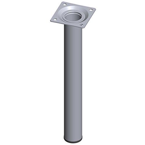 Element System 4 Stück Stahlrohrfüße rund / Tischbeine / Möbelfüße / inkl. Anschraubplatte / L 25 cm / Ø 30 mm / chrom / 4 Farben / 11 Abmessungen