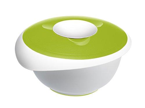 Westmark Rühr-/Backschüssel mit zweigeteiltem Deckel, 3,5 l, Mit Ausgießer, Kunststoff, Weiß/Apfelgrün, 3155227A
