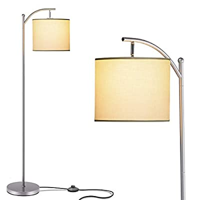 Addlon Floor Lamp for Living Room with Lamp Shade and 9W LED Bulb Modern Standing Lamp Floor Lamps for Bedrooms Silver