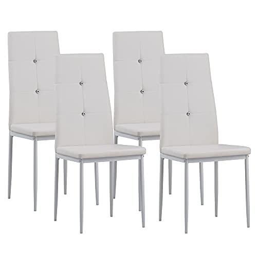 Albatros 3095 Diamond Set di 4 sedie da pranzo, bianco, SGS tested