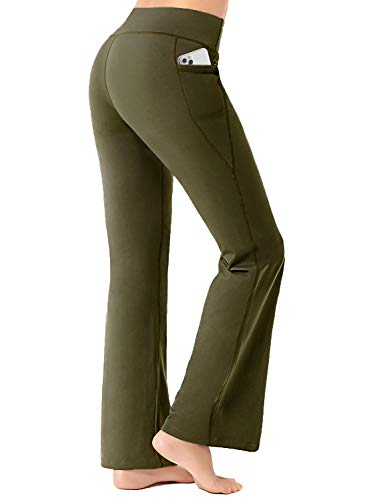 FIRST WAY Buttery Soft Women's Bootcut Yoga Pants with 3 Pockets, Peach Skin Wide Leg Lounge Workout Bootleg Flared Pants, Olive Green M