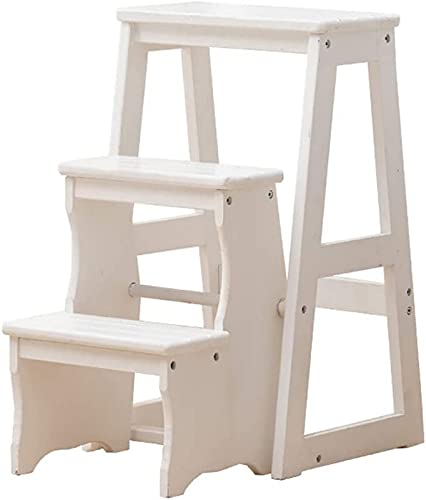 Flower Stand Plant Rack Step Stool Wooden 3 Step Ladder Flower Stand Folding Ladder Multifunction Indoor Household Ascend The Small Ladder (Color:A) Display Stand Home Decor