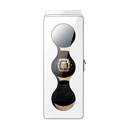 HTTIB Mira enrollador de 3 Reloj automático con Espacio de Almacenamiento de luz de Fondo LED LCD de Cuero for Hombre Padres Día Novio Regalo - batería Adaptador de CA (Color : White)
