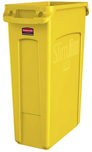 Rubbermaid Commercial Products 1956188 Cubo de Basura con Ranuras de Ventilación, 87 L, Amarillo