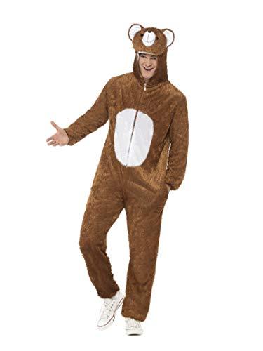 Smiffys volwassen unisex beer kostuum, jumpsuit met capuchon, partij dieren, ernstig plezier