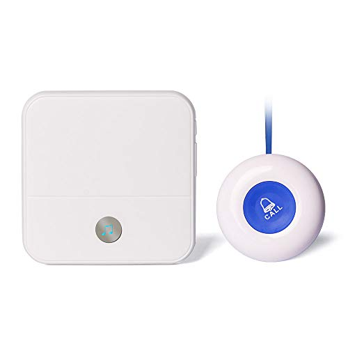NiCalBel Wireless Caregiver Pager Call Button Personal Help Alert Button for Elderly Patients at Home 2 Waterproof Transmitters 1 Plugin Receiver