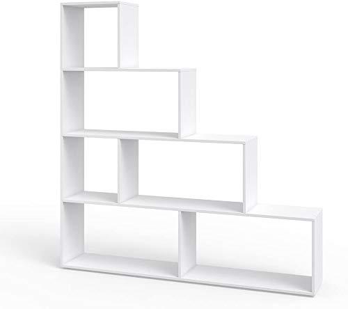 Vicco Treppenregal ASYM Raumteiler weiß Bücherregal Standregal Aktenregal Hochregal Aufbewahrung Regal (Weiß)