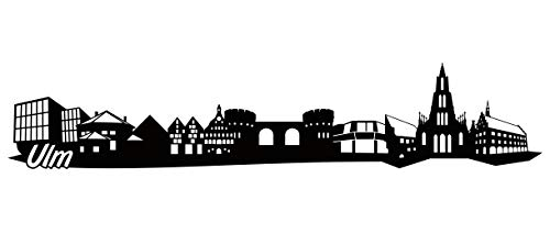 Samunshi® ULM Skyline Wandtattoo Sticker Aufkleber Wandaufkleber City Gedruckt ULM 120x24cm schwarz