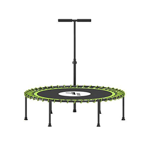 XINKO Unisex Quiet Miniature Indoor Rebounder Home Fitness,Free installation Trampoline with Height Adjustable Bar Armrests