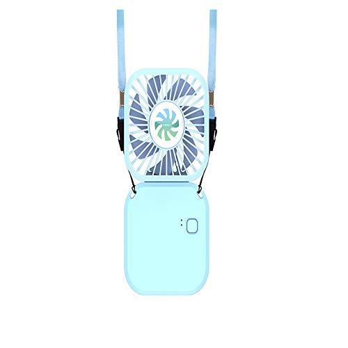 Mini ventilador personal de manos libres, portátil, plegable, ventilador de cuello recargable, ventilador de tres velocidades, bajo ruido, para colgar en casa, oficina, viajes, camping (800 mAh, azul)