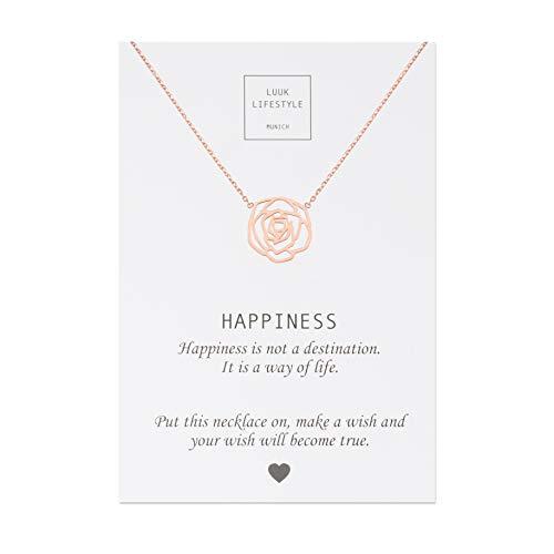 LUUK LIFESTYLE Edelstahl Halskette mit Rose Anhänger und Happiness Spruchkarte, Glücksbringer, Damen Schmuck, rosé