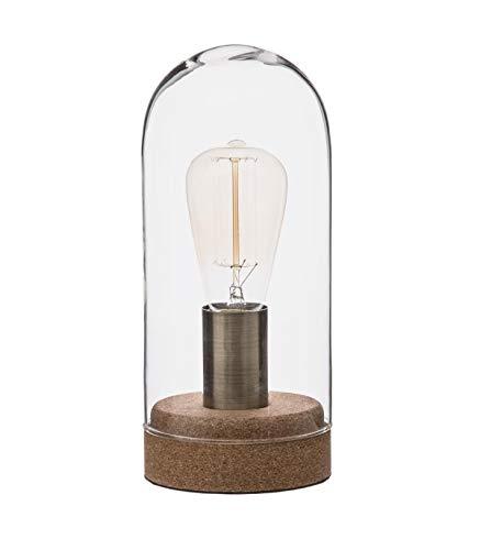 Atmosphera – lamp Dome van glas & kurk, H27 D. 12 x H. 27 cm Transparant
