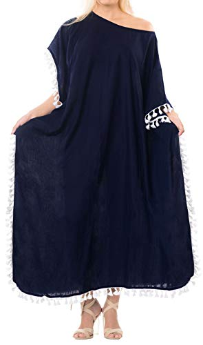 LA LEELA Mujeres caftán Rayón túnica Sólido Plain Kimono Libre tamaño Largo Maxi Vestido de Fiesta para Loungewear Vacaciones Ropa de Dormir Playa Todos los días Cubrir Vestidos Azul Marino_B528