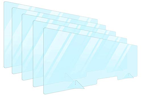 5 Pack Plexiglass Barrier For Counter Plexi Glass Screen 60x24 Desk Shields Sneeze Guard Shield For Counter Plexiglass Divider For Desk Sneeze Guards For Countertops Multiple Sizes
