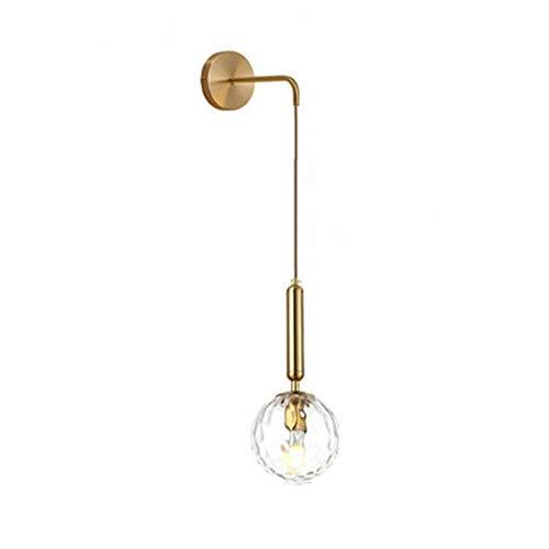 MZStech Apliques de pared industriales vintage, lámpara de pared de gota de vidrio de 15 cm para dormitorio, sala de estar (Vidrio transparente y metal dorado)