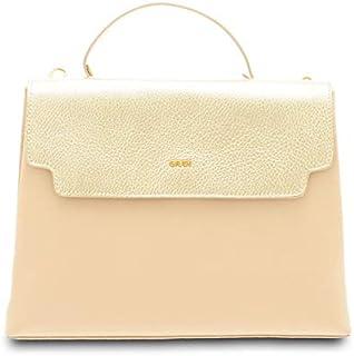 GIUDI ® - Borsa Donna in pelle vitello, vera pelle, borsa a mano, tracolla, Made in Italy. (Sabbia/Platino)