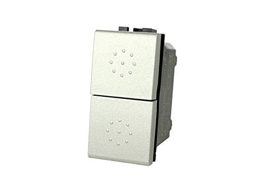 SANDASDON SD41002T Pulsante Doppio Tasto Saliscendi 1P+1P 16A Compatibile Bticino Living (SILVER)