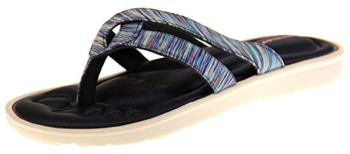 Dunlop Damen Sandalen Zehensteg Memory Foam Flip Flops, - Marineblauer T-Post - Größe: 41 EU