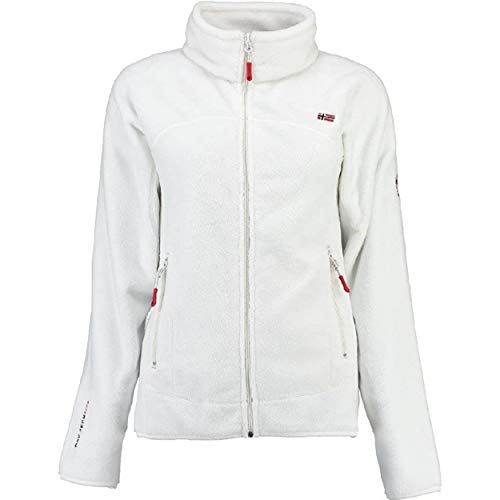 Geographical Norway UPALINE Lady - Suave Cálido Mujeres - Chaqueta Calida Invierno Suave Mujeres Caliente - Pullover Casual Tops Mangas Largas - Manga Larga Suéter Piel Blanco S