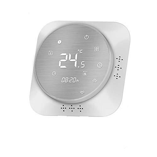 Termostato WiFi per Caldaia a Gas Murale Da Parete,Termostato intelligente Schermo LCD(Pannello spazzolato) Touch Button Retroilluminato Programmabile con Alexa Google Home e Telefono APP-Bianco