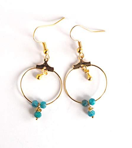Pendientes de fantasía, pequeños criollos de oro, apatito azul turquesa, joyas para...