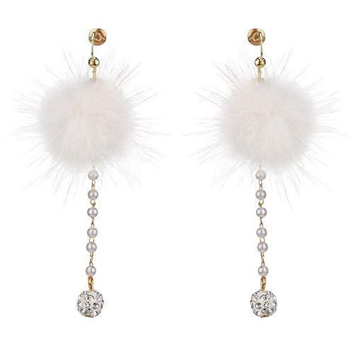 BJINUIY Lange einfache Ohrringe, Temperament wild 貂 貂 Plüsch Ball High-End schöne Pop Perle Ohrringe weiß