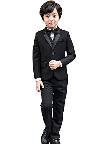 5 pièces Smoking-garçons Noir Costume, Costume garçon d'honneur, Bal pour garçon Mariage Costume (10-11 Ans,Noir Manche Longue,Taille du tag 150)