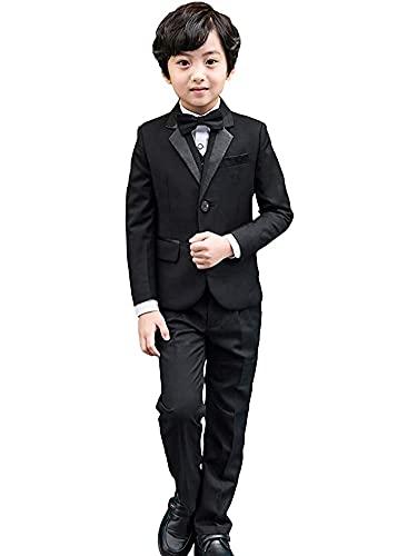 LOLANTA Vestito da Cerimonia Nuziale della Festa Nuziale della Giacca della Giacca da Smoking dei Bambini del Blazer dei Ragazzi dei Ragazzi di 5 Pezzi (11-12 Anni,Nero,Dimensione del Tag 160)