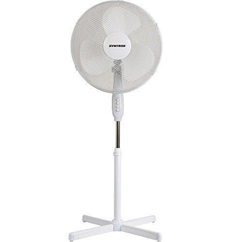 Syntrox Germany SVT-44W-W Ventilator mit Oszillation Standventilator Windmaschine Axialventilator Lüfter Gebläse Luftkühler
