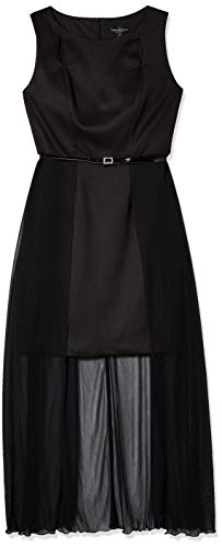Connected Apparel Women's Scuba Dress with Sheer Long Overlay Skirt with Belt, Black, 6