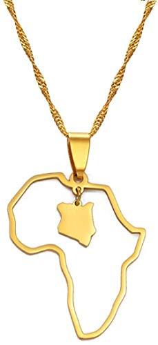 CXYCXY Co.,ltd Collar Esquema Mapa de África Mapa de Kenia Collares Pendientes Mapa de joyería de Color Dorado Regalo de Kenia 45Cm