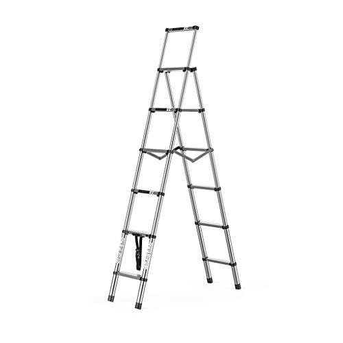 Escalera doméstica, espiga telescópica plegable Multifuncional Aleación de aluminio gruesa para interiores Escalera pequeña Ligero (Size : 5+6 steps)