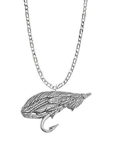 Salmon Fly PP-F07 - Emblema de peltre inglés en un collar de plata de ley 925 de 76,2 cm