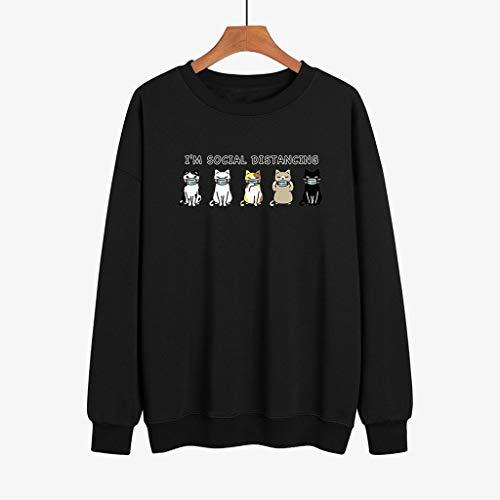LXHcool Coron_avirus I'm Social Distancing Mask Cat Print Short Sleeve Sweatshirt (Color : Black, Size : Small)