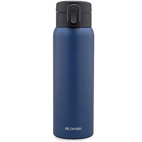 アイリスオーヤマ 水筒 500ml ワンタッチ 真空断熱 マグボトル アッシュブルー SB-O500