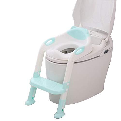 CQILONG Siège De Toilette avec Échelle Marches Réducteur Bambin Assitant Potty Antidérapant Stable Ajustable Convient for O, V, U, Toilettes Carrées, 2 Couleurs (Color : Green, Size : 34x66cm)