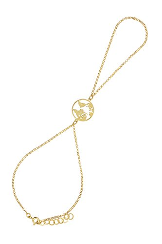 Córdoba Jewels   Pulsera de Dedo en Plata de Ley 925 bañada en Oro con diseño Mapamundi Infinity Oro