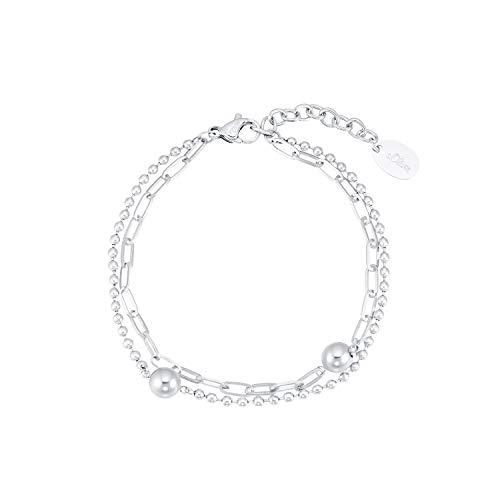 s.Oliver Armband für Damen, Edelstahl zweireihig | Chain Mix