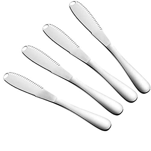 HDCRAFTER Cuchillo de Mantequilla Multifuncional 3 en 1 de Acero Inoxidable Cuchillo para Queso con Borde Dentado para Cortar pan,Fruta y Queso (paquete de 4)