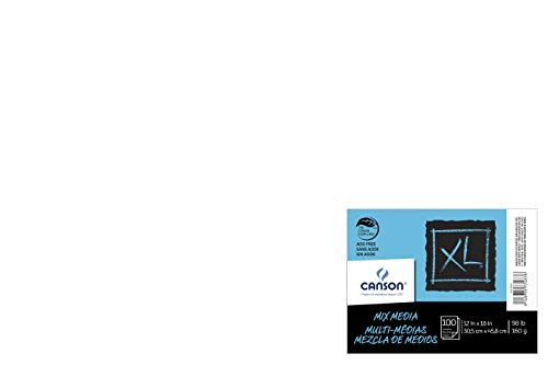 Canson - 100516254 XL Mixed Media Paper, 98 lb, 12 x 18 Inches, 100 Sheets, White - 1435468