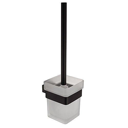 CASEWIND Elegant Toilettenbürstenhalter mit Bürste und Becher Toilettte Set, Quadratisch Amerikanisch Schwarz Stil für WC mit Edelstahl und Glas Konstruktion Bohren